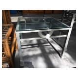 Glass top metal based side table