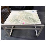 Faux stone top metal based side table 2 feet long