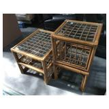 Bentwood and cane glass top coffee table and side