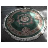 Woven wool high pile circular area rug - 6 feet