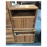 Pair of wooden side tables with lower storage and