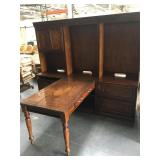Wood high end partners desk with glass top -