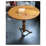 Wood Antique birdcage pine tilt top table