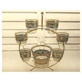 Culver glass & ice bucket set in ferris wheel,