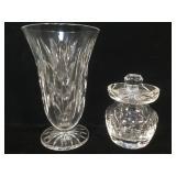 Waterford crystal vase & jar, vase stands just