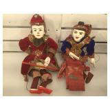2 hand painted Hun Krabok Thai puppets