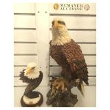 2 cast resin eagle statues, tallest measures 17