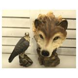 2 cast resin statues, wolf & hawk, largest