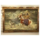 Painting on velvet, framed to 28 x 40 inches