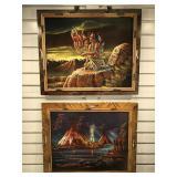 2 painting on velvet, both framed to 23 x 19