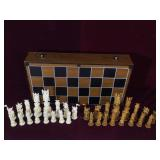 Intricate Ivory scrimshaw chess set, complete, no