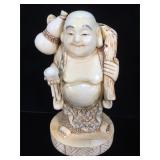 Signed bone scrimshaw buddha, excellent