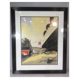 French Line train & ocean liner print, framed to
