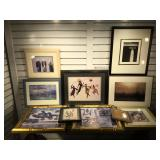 8 pieces of framed wall art, largest measures