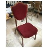 Lot of 13 Red and tan Banquet chairs
