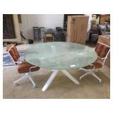 Circular Glass top dinning table w/2 matching