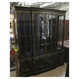 Ornate wooden china hutch w/glass shelves, approx