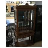Wooden china hutch w/glass shelves, approx