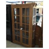 Wooden double door cabinet w/4 glass shelves,