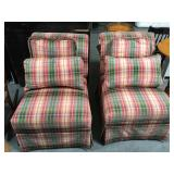 Pair of plaid armless chairs with pillows - good