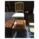 Wood Thomasville side table and folding chair -