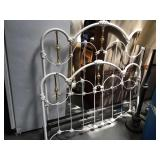 Metal and white enamel painted full size bed