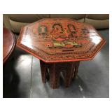 Collapsible Asian wood painted side table
