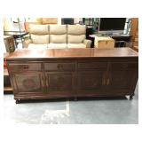 7 foot long Asian wood buffet with 4 drawers and