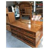Wood dresser with mirror - 9 drawers