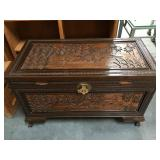 Carved Asian Teak wood chest with tray and lock -