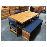 63 in long wood dining table with 4 chairs and