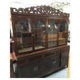 6 foot long wood Asian china cabinet with glass