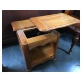 Wood lift-top side table