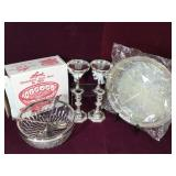Plated silver goblets, salad bowl, candle sticks