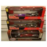 3 die-cast dragsters 1:24th scale Race cars in