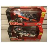 2 die-cast funny car 1:24th scale race cars in