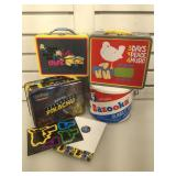 3 metal lunch boxes & Bazooka tin