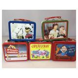 5 small lunch box collector tins