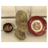 2 mini Limoges plates & carved stone head