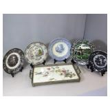 5 antique english transfer plates & vintage