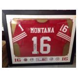 Joe Montana framed auto jersey gai certified