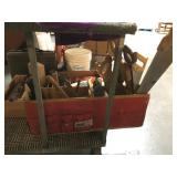 3 foot long wooden tool storage box with saws,