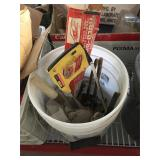 Bucket with assorted tools - hacksaw, wrenches