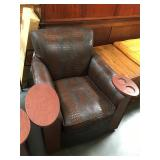 Faux alligator print leather lounger with cup