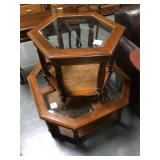 Wood and glass coffee table and side table set