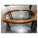 Metal base with wood and glass top coffee table