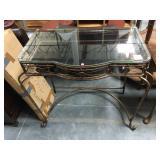 Metal based hall table with glass top