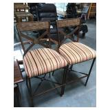 Pair of metal stools with striped cushions