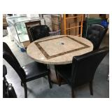 4 foot diameter stone top dining table with 4