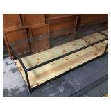 Glass top coffee table w/metal frame and wooden